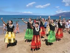 Worship Hula at Beach Baptism